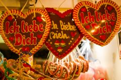 Christmas market in Wuppertal-Barmen, Germany. On the gingerbread heart itsays royalty free stock images