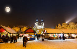 Christmas marketplace in Oldtown square, Prague Stock Photography