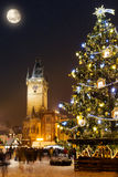 Christmas marketplace in Oldtown square, Prague Royalty Free Stock Images