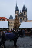 The Christmas markets in Europe. The traditional Christmas markets in Prague on the old town square in winter is a tourist attraction Stock Images