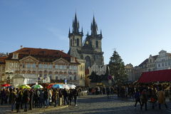 The Christmas Markets at the Old Town Square in Prague, Czech Republic Royalty Free Stock Photography