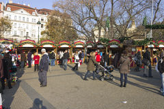 Christmas markets on Peace square, Prague Stock Photo