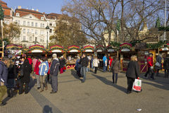 Christmas markets on Peace square, Prague Stock Images