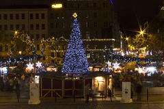 Christmas markets on Peace square, Prague (night) Royalty Free Stock Images