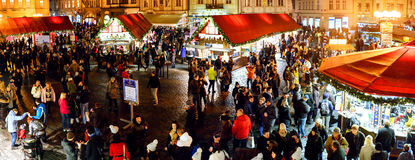 Christmas Markets on Staromestske Square in Prague Royalty Free Stock Photography