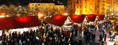 Christmas Markets on Staromestske Square in Prague Royalty Free Stock Image