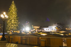 Christmas markets in Vienna in front of the town hall at night. Royalty Free Stock Images