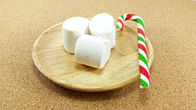 Christmas marshmallow and candy cane Royalty Free Stock Image