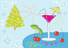 Christmas martini. Illustration of martini glass and cherry on blue christmas background Stock Photo