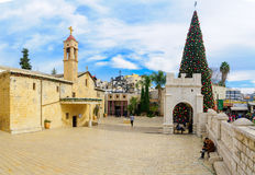 Christmas in Mary's Well Square, Nazareth Stock Image