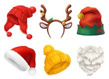 Free Christmas Mask, Santa Claus Hat, Knitted Hat. 3d Realistic Vector Icon Set Stock Photography - 141542832
