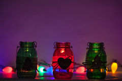 Christmas Mason Jars with Lights Stock Image