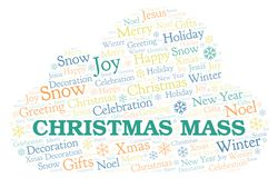 Christmas Mass word cloud. Wordcloud made with text only royalty free illustration