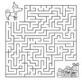 Christmas maze for children, funny dog looking for gifts. Stock Image