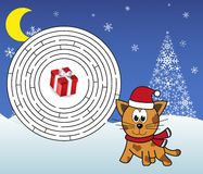 Christmas maze - help cat (tiger) get to the present Stock Photo