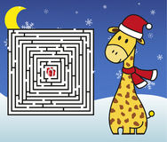 Christmas maze - help giraffe get to the present! Stock Photography