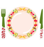 Christmas Meal. A plate decorated with Christmas ornaments and fork and spoon stock illustration