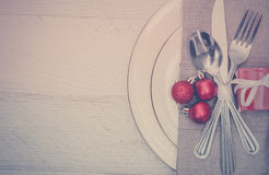 Christmas Meal Table Setting Background. Christmas Meal Table Background with Copy Space Stock Photography