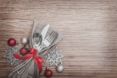 Christmas Meal Table Setting Background. Christmas Meal Table Background with Copy Space Royalty Free Stock Photo