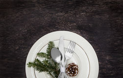 Christmas Meal Table Setting Background. Christmas Meal Table Background with Copy Space Stock Images