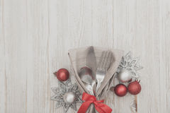 Christmas Meal Table Setting Background. Christmas Meal Table Background with Copy Space Stock Photo