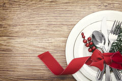 Christmas Meal Table Setting Background. Christmas Meal Table Background with Copy Space Royalty Free Stock Image