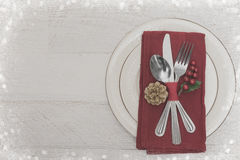Christmas Meal Table Setting Background. Christmas Meal Table Background with Copy Space Stock Photos