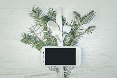 Christmas Meal Table Setting Background. Christmas Meal Table Background with Copy Space Royalty Free Stock Photography