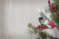 Christmas Meal Table Setting Background Stock Image