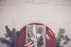 Christmas Meal Table Setting Background Royalty Free Stock Photography