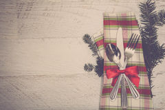 Christmas Meal Table Setting Background Royalty Free Stock Photo