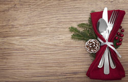 Christmas Meal Table Setting Background Stock Images
