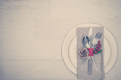 Christmas Meal Table Setting Background Stock Photo