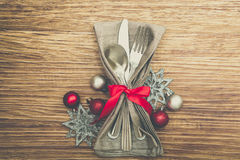 Christmas Meal Table Setting Background Royalty Free Stock Photos