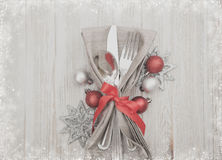 Christmas Meal Table Setting Background Royalty Free Stock Image