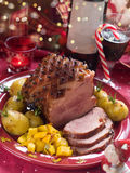 Christmas meat. With potato for Holiday dinner, selective focus Royalty Free Stock Image