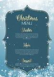 Christmas menu design with snowflakes. Christmas menu background with snowflakes and stars design Stock Image