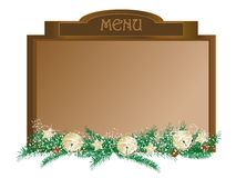 Christmas menu. Board with luxury garland - vector illustration Royalty Free Stock Photography