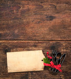 Christmas menu. Card for restaurants on wooden background royalty free stock photos