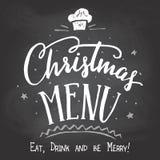 Christmas menu on chalkboard background Stock Photos