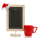 Christmas menu chalkboard. Empty restaurant menu chalkboard with santa claus hat and red mug on the conner isolated on white Stock Images