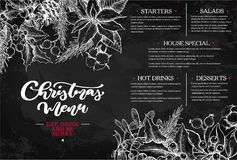 Christmas menu. Chalkboard restaurant and cafe template. Vector hand drawn illustration. Christmas menu.  Chalkboard restaurant and cafe template. Vector hand Stock Images