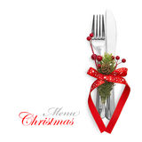 Christmas menu concept. With red bow and fir branches isolated stock image