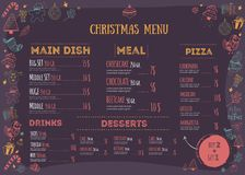 Christmas menu design with doodle design elements. Vector teplate for print. Restaurant food background with playful. Icons Royalty Free Stock Photography