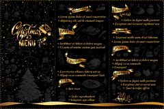 Christmas menu design with doodle icons and text royalty free illustration