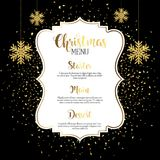 Christmas menu design with gold confetti. And glittery hanging snowflakes Royalty Free Stock Photography