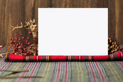 Christmas  menu, on fabric red checkered Stock Photography