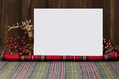 Christmas  menu, on fabric red checkered Stock Images