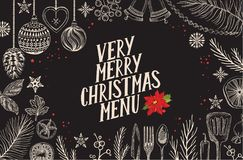 Christmas menu food template for restaurant. Christmas food menu for restaurant and cafe. Design template with holiday hand-drawn graphic illustrations Stock Image