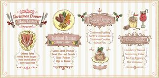 Christmas menu list design, holiday menu - main dishes, sides, desserts and drinks Royalty Free Stock Photo